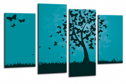 Abstract Floral Black Teal Butterfly Tree Landscape Wall Art